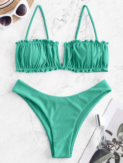 ZAFUL V-wired Ribbed High Leg Bikini Swimwear - Green S