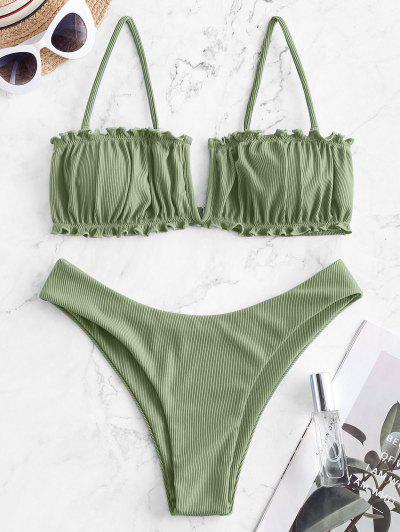 ZAFUL Bikini De Corte Alto Acanalado Con Cable - Verde Claro L