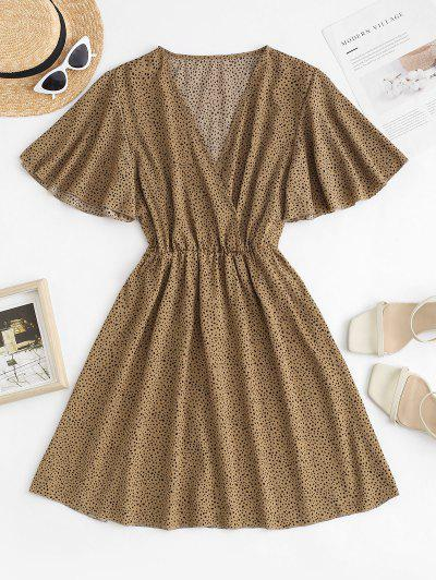 Dotted Butterfly Sleeve Surplice Dress - Coffee M