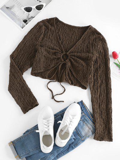 ZAFUL Cinched Textured Cropped Tee - Deep Coffee L
