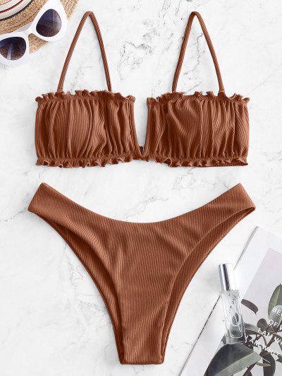 ZAFUL V-wired Ribbed High Leg Bikini Swimwear - Coffee M