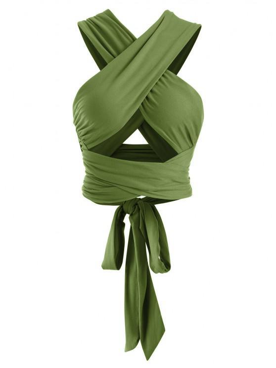 shop Tie Back Criss Cross Wrap Crop Top - DEEP GREEN ONE SIZE