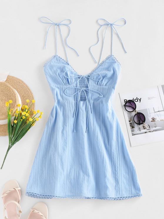 trendy ZAFUL Smocked Front Tie Mini Dress - LIGHT BLUE S