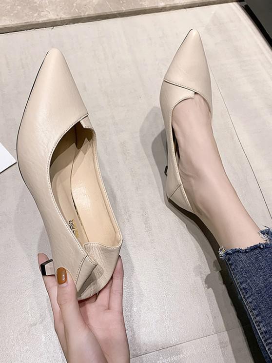 Pointed Toe Kitten Heel Shoes - اللون البيج الاتحاد الأوروبي 37