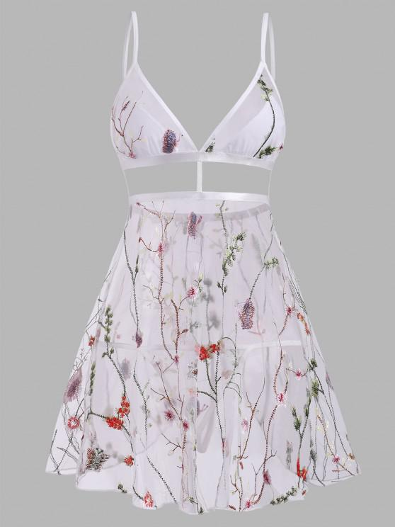 womens Plant Butterfly Embroidered Flyaway Mesh Babydoll Set - MULTI M