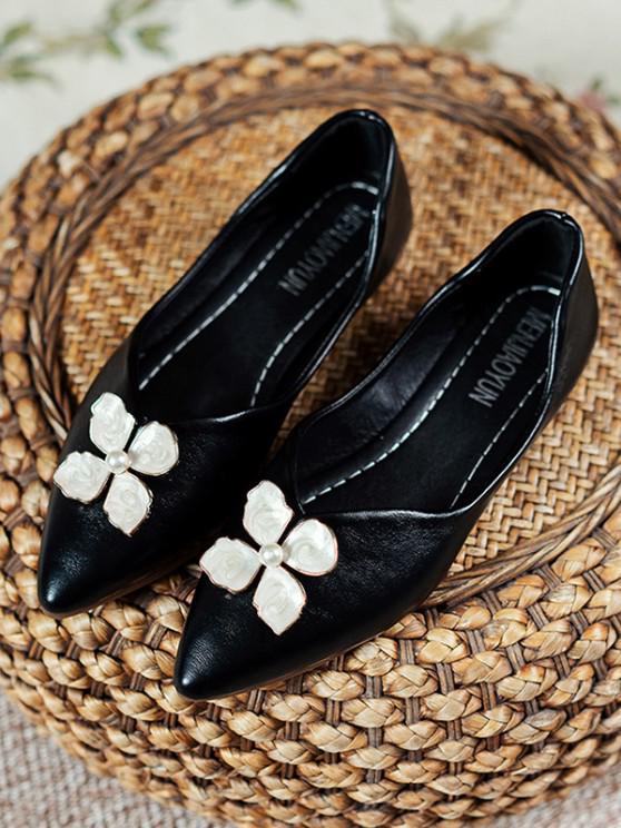 PU Blumen Spitze Zehe Flache Schuhe - Schwarz EU 37