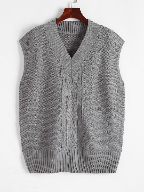 Übergroßer Pullover Weste mit V Ausschnitt - Grau Eine Größe