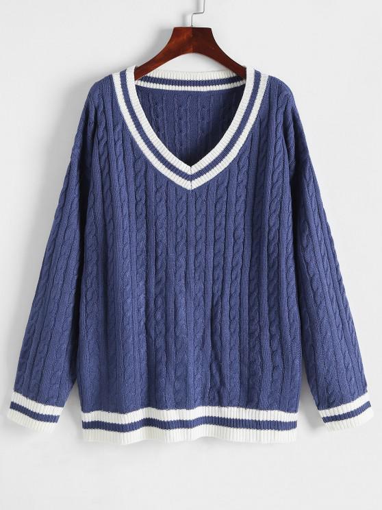 Gestreifter Zopfmuster Fallschulter Pullover - Tiefes Blau Eine Größe