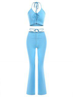 Halter Cinched Top And Built-in G-string Flare Pants Set - Light Blue S