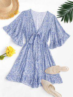 Ditsy Print Tie Front Ruffled Romper - Blue S