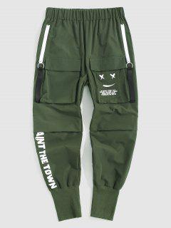 Pantalones De Cargo Con Estampada De Letras - Verde Oscuro L