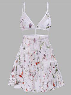 Plant Butterfly Embroidered Flyaway Mesh Babydoll Set - Multi S