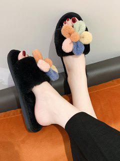 Flower Decor Furry Indoor Flat Slippers - Black Eu 40