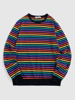 ZAFUL Camiseta De Manga Larga Con Estampado De Rayas De Arco Iris - Multicolor S