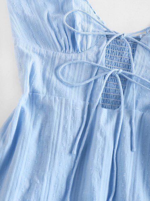 ZAFUL Kittel Minikleid mit Geraffter Krawatte - Hellblau S Mobile