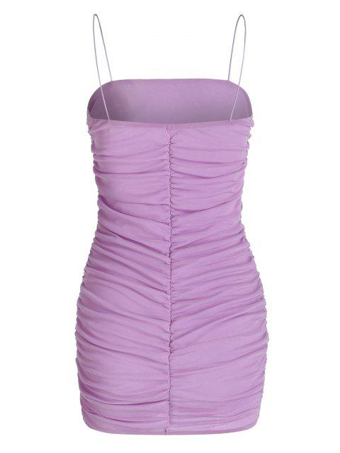 Maschen Overlay Geraffte Bungee Gurt Minikleid - Helles Lila M Mobile