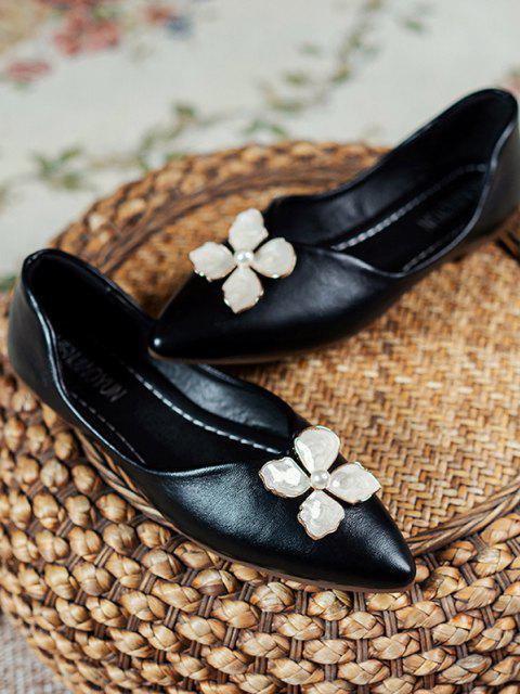 PU Blumen Spitze Zehe Flache Schuhe - Schwarz EU 37 Mobile