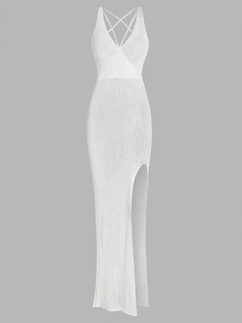 Vestido Envuelto con Tirante Fino con Espalda Descubierta de Ganchillo - Blanco S Mobile