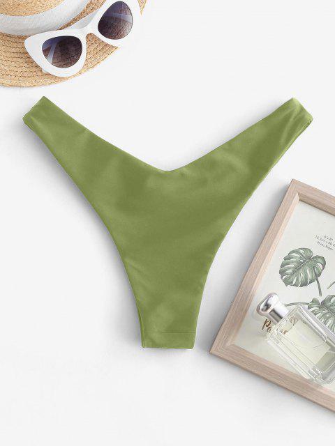 outfit ZAFUL Ruched High Leg Thong Bikini Bottom - GREEN S Mobile