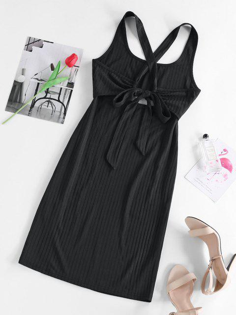 outfits ZAFUL Ribbed Cut Out Criss Cross Tie Back Slinky Dress - BLACK M Mobile
