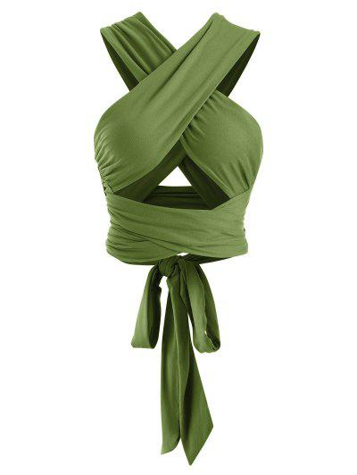 Tie Back Criss Cross Wrap Crop Top - Deep Green