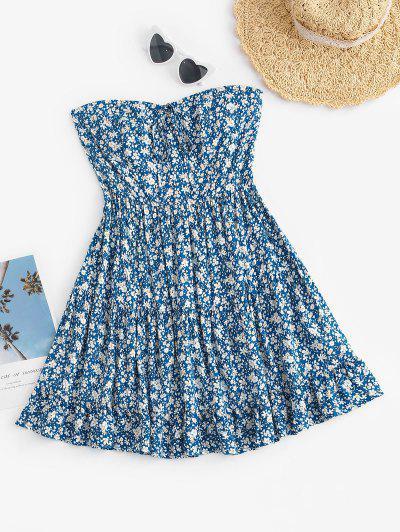 ZAFUL Non-slip Strapless Floral Smocked Back Tiered Dress - Light Blue S