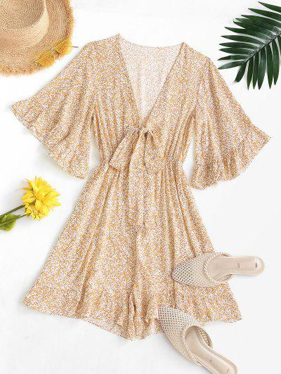 Ditsy Print Tie Front Ruffled Romper - Yellow M