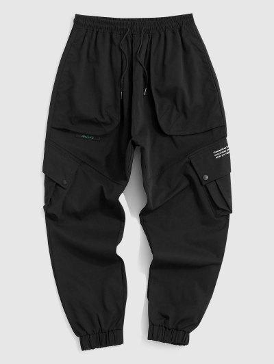 Pantaloni Cargo A Contrasto Con Stampa Lettere - Nero 2xl