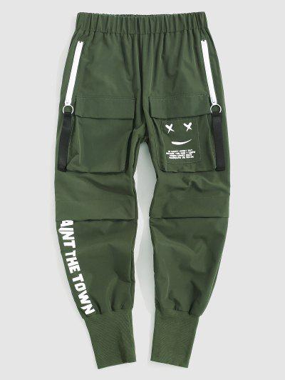 Letter Print Graphic Applique Cargo Pants - Deep Green L