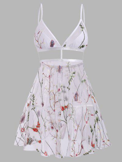 Plant Butterfly Embroidered Flyaway Mesh Babydoll Set - Multi M