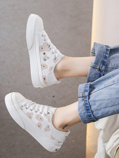 Spot Print Lace Up Canvas Shoes - Brown Eu 37