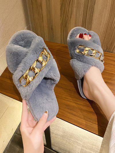 Criss-Cross Chain Indoor Furry Slippers - Gray Eu 37