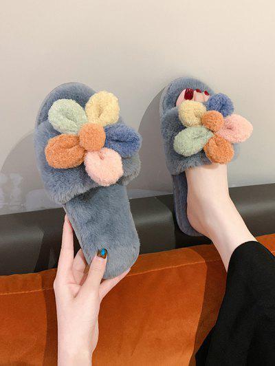 Flower Decor Furry Indoor Flat Slippers - Gray Eu 37