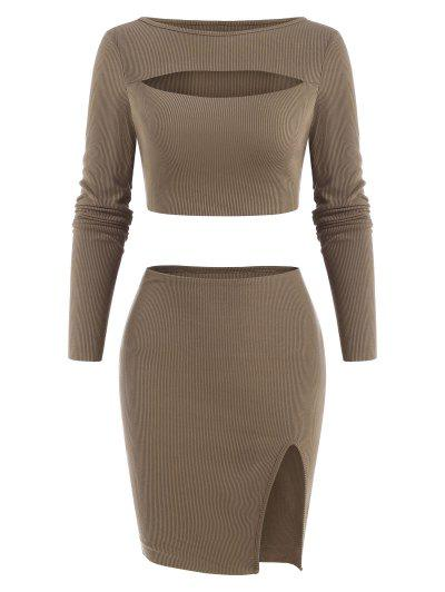 Cut Out Ribbed Front Slit Slinky Skirt Set - Coffee L