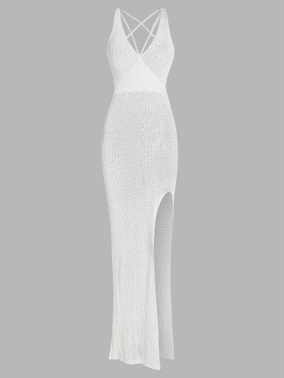 Crochet Thigh Split Backless Surplice Dress - White S