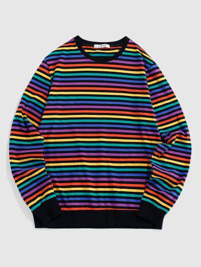 ZAFUL Langärmliges T-Shirt Mit Gestreiftem Regenbogenmuster - Multi L