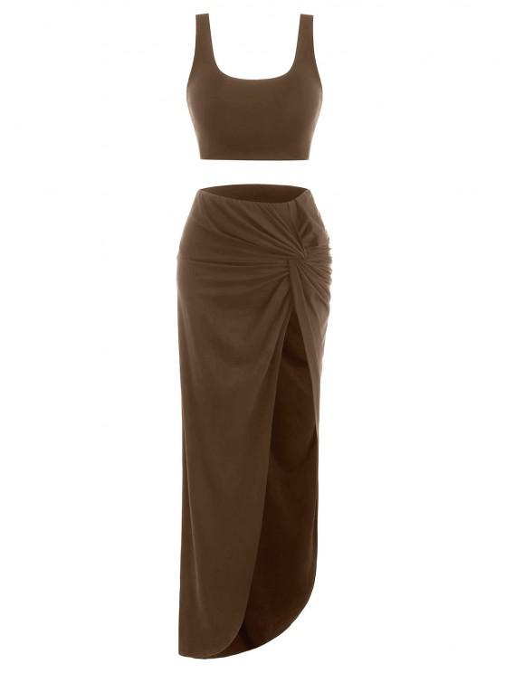women 2pcs Marled Tank Top and Twist High Slit Skirt with Briefs - COFFEE M