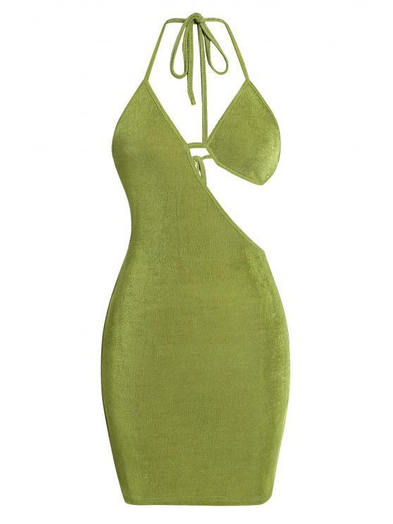 latest ZAFUL Bra Cutout Jersey Backless Halter Slinky Dress - GREEN M