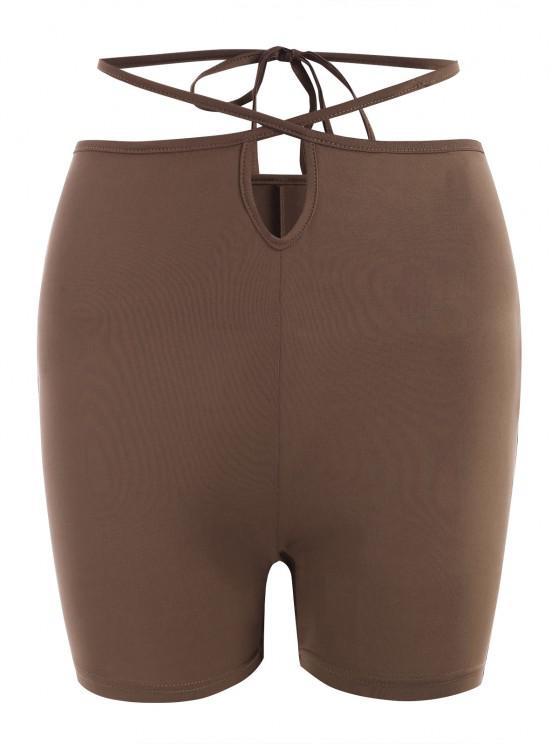Midriff Flossing Cross Skinny Shorts - قهوة M