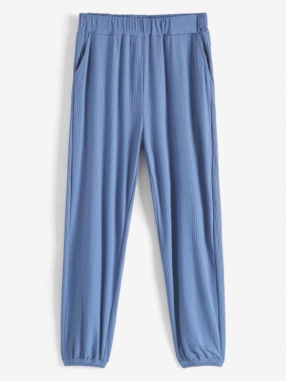 hot Ribbed Beam Feet Pull On Pants - LIGHT BLUE M