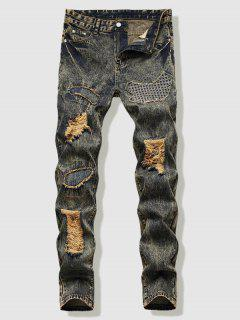 Dirty Wash Stitching Patch Ripped Jeans - Yellow 40
