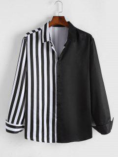 ZAFUL Half Striped Print Long Sleeve Shirt - Black Xl