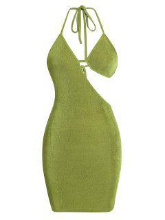 ZAFUL Bra Cutout Jersey Backless Halter Slinky Dress - Green M