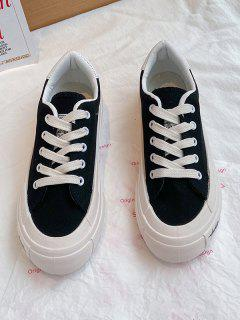 Lace-Up Low Top Thick Sole Sneakers - Black Eu 38