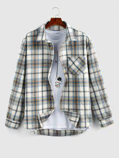ZAFUL Karierter Druck Wollmischung Taschen Hemd - Hellblau Xl