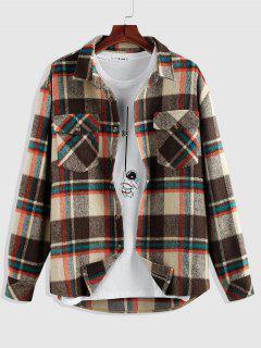 ZAFUL Plaid Print Double Pockets Wool Blend Shacket - Deep Coffee L