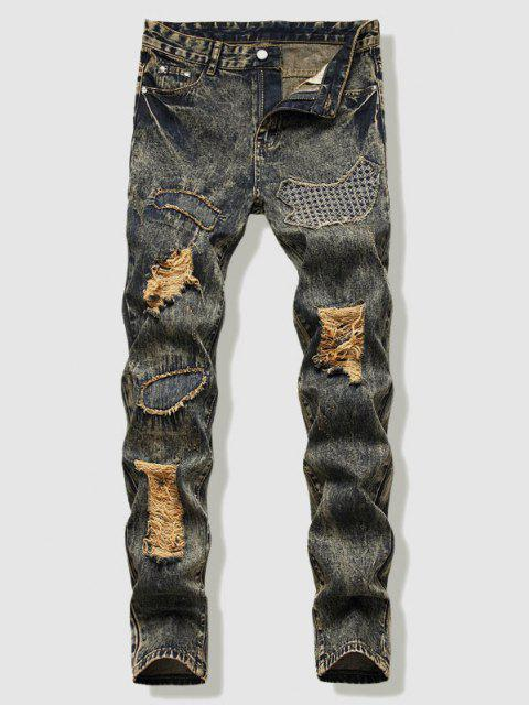 affordable Dirty Wash Stitching Patch Ripped Jeans - YELLOW 40 Mobile