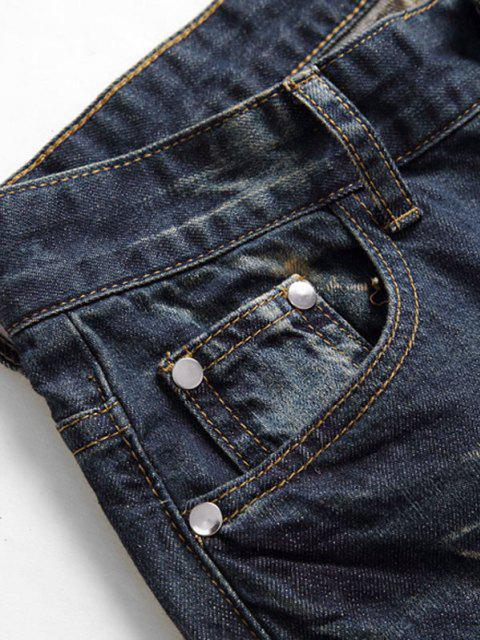 shop Dirty Wash Ruched Patch Ripped Jeans - DEEP BLUE 38 Mobile