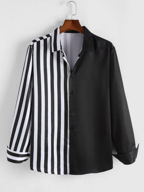 sale ZAFUL Half Striped Print Long Sleeve Shirt - BLACK S Mobile