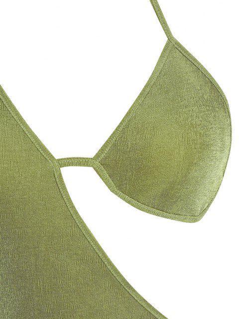 ZAFUL BH Rückenfrei Tiefer Ausschnitt Akzentuiert das Trendige Leopardenmuster und Einen Verführerischen Minilängenschnitt - Grün M Mobile